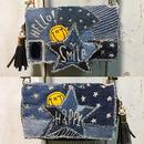 ツギハギデニムスターお財布一体型iPhoneケースショルダー