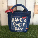「HAVE A SMILE DAY」ワッペンデニムミニトート