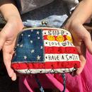 アメリカンボーダー刺繍スマイルガマ口ミニショルダー