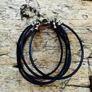 黒 革丸紐 5連ブレスレット