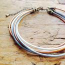 3色革丸紐のアンクレット