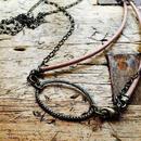ナチュラル革丸紐とチェーンのネックレス