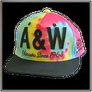 A&W文字フラットキャップ:タイダイ柄