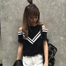 肩ぱっかーんラインTシャツ