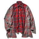 """19SS"" DLSM ディーエルエスエム MIX CHECK BIG SILHOUETTE OVER SHIRT -LIGHT BLUE×RED-"