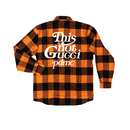 """18AW""  PANDEMIC ×Rothco Extra Heavyweight  Check Shirt  ""This is Not"" -Orange-"