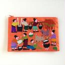 ラオス モン族の手刺繍ミニファスナーポーチ 農村の生活風景(オレンジ)03