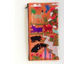 ラオス モン族の両面手刺繍ファスナーポーチ 動物の楽園(オレンジ)03