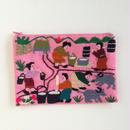 ラオス モン族の手刺繍ミニファスナーポーチ 農村の生活風景(ピンク)09