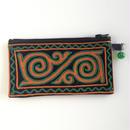 カザフ刺繍 ファスナーポーチ(緑×オレンジ)