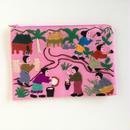 ラオス モン族の手刺繍ミニファスナーポーチ 農村の生活風景(ピンク)10