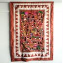 ラオス モン族の手刺繍タペストリー 農村風景