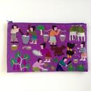ラオス モン族の手刺繍ファスナーポーチ 農村の生活風景(紫)09