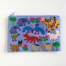 ラオス モン族の手刺繍ミニファスナーポーチ 動物の楽園(水色) 01