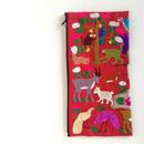 ラオス モン族の両面手刺繍ファスナーポーチ 動物の楽園(赤)05