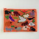 ラオス モン族の手刺繍ミニファスナーポーチ 動物の楽園(オレンジ)05