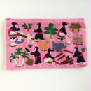 ラオス モン族の手刺繍ファスナーポーチ 農村の生活風景(ピンク)03