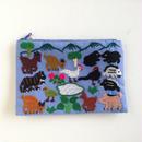ラオス モン族の手刺繍ミニファスナーポーチ 動物の楽園(水色)03