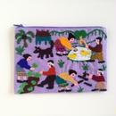 ラオス モン族の手刺繍ミニファスナーポーチ 農村の生活風景(紫)01