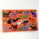 ラオス モン族の手刺繍ファスナーポーチ 動物の楽園(オレンジ)02
