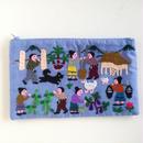 ラオス モン族の手刺繍ファスナーポーチ 農村の生活風景(水色)08