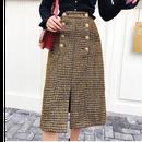 ★ゴールドボタンmixツイードスカート ★ladies