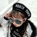 ★ワッペン付きレザーパイピングベレー帽★