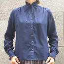 Vintage Navy Frill Stand Collar Blouse