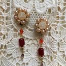 Vintage Pink Earring with Swing Stone by freaque