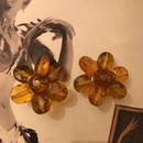 Vintage Brown Flower Earrings