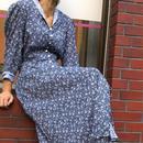 Vintage Lace Collar Floral Blue Dress