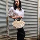 Vintage Wood Beaded Crochet Summer bag