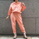 80's  Vintage Salmon Pink Cotton Jump Suits