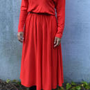 Vintage Red High-Neck Flair Knit  Dress