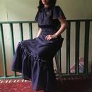 70's Vintage Dot Ruffle Maxi Dress