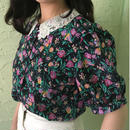 Vintage Lace Collar Floral  Blouse