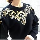 Vintage Gold Embroidery Mohiar Knit