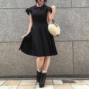 Vintage Ruffle Sleeve Black Dress
