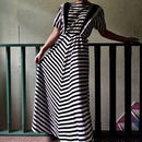 50's Vintage Black & White Maxi Dress