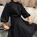 Vintage Pleated Black Bow Dress