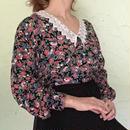 Vintage Lace Collar Floral  Blouse