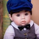 【送料無料!】リボーンドール おしゃれな男の子 クマさん付き トドラードール トドラー人形 赤ちゃん人形 ベビー人形 ベビードール 綿&シリコン 50cm 【新品】