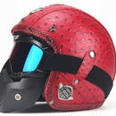 【送料無料!】★高級★ レザー ヘルメット 赤色 アメリカン カフェレーサージェットヘルメット 高級レザー ゴーグル バイザー バイカー モトクロス DOT【新品】