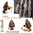 LuxDivine ラックスディバイン アメリカ アロー メノウリング 日本サイズ 11号 (USA6SIZE) 1番 ARROWHEAD AGATE Rings Gold 指輪 ゴールドメッキ