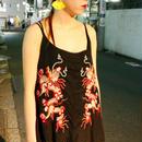 【AHCAHCUM/あちゃちゅむ】テンセルシルク龍刺繍チュニック /黒