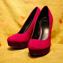 Bi-color Purple Suede Heel【ELLE】