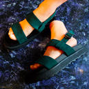 Suede Strap Sandal / green
