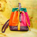 1980's Vintage Colorful Leather Bag