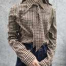 hpundstooth ribbon  blouse