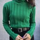 Green rib turtleneck knit